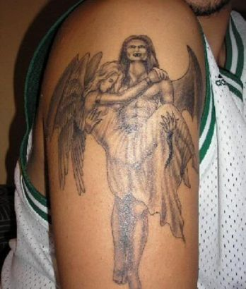 Vampire And Fallen Angel Tattoo On Arm || Tattoo from Itattooz