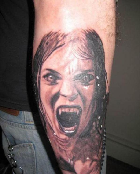 aed930d89 Vampire Girl Face Tattoo On Elbow