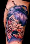 Bleeding Zombie Face Tat