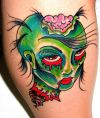 Zombie Face Tattoo on Side Leg