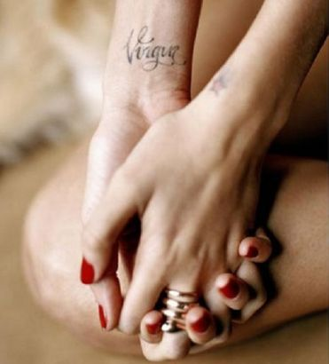 Virgo Text Tattoo On Wrist