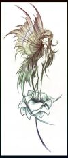 fairy on flower tats design