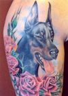 dog and rose tattoo on arm