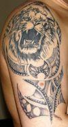 lion head tattoo maori style