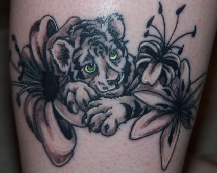Tiger Cub And Flower Tattoo Tattoo From Itattooz