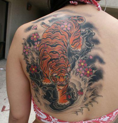 Tiger And Flower Tattoo On Back Tattoo From Itattooz