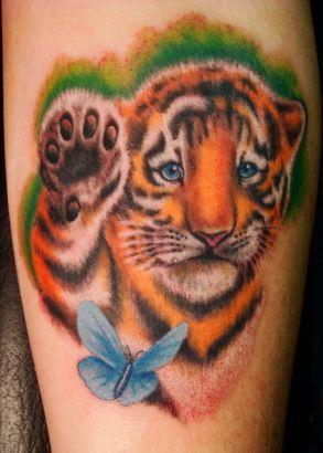 Tiger Cub And Butterfly Tattoo Tattoo From Itattooz