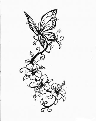 Butterfly And Hibiscus Flower Pic Tattoo Tattoo From Itattooz