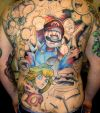 cartoon tattoo on full back