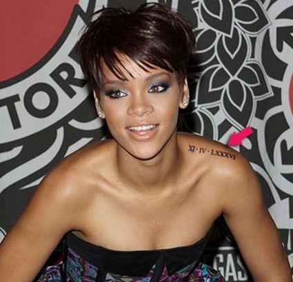 Rihanna Roman Numeral XI-IV-LXXXVI Date 11-04-1986 Left ...