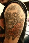 mexican skull and rose tattoo