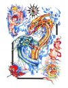 colored dragon pic tattoo design