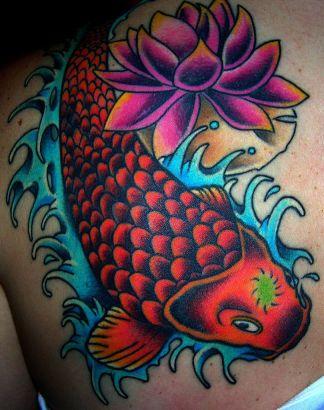 Flower And Koi Fish Tat Tattoo From Itattooz