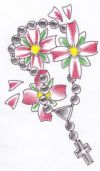 cross and exotic flower tattoo