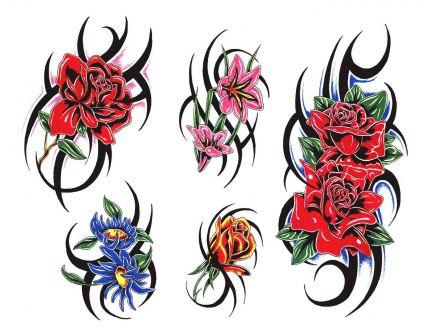 Rose Flower And Tribal Tats Tattoo From Itattooz