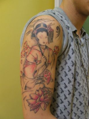 Chinese Girl Portrait Tattoo Art On Arm S
