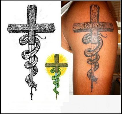 cross and snake tattoo tattoo from itattooz. Black Bedroom Furniture Sets. Home Design Ideas