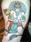 hanuman pics tattoo on thigh