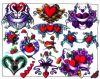 colored hearts tattoo