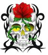 colored skull and flower tattoo