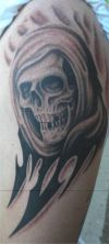 tribal reaper tattoo pic on arm