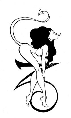 Devil Girl And Capricorn Sign Tattoo